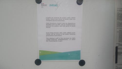 Affiche extérieure fermeture INRAE Jardin Thuret 30 10 20