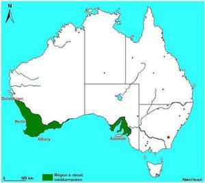 Régions au climat méditerranéen en Australie