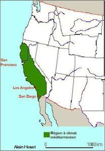 Région au climat méditerranéen en Californie
