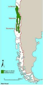 Régions au climat méditerranéen au Chili