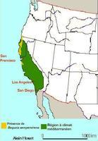 Carte de répartition de Sequoia sempervirens en Californie
